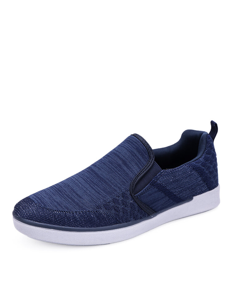 Men Brief Round Toe Knitted Fabric Slip-on Hard Wearing Casual Flats