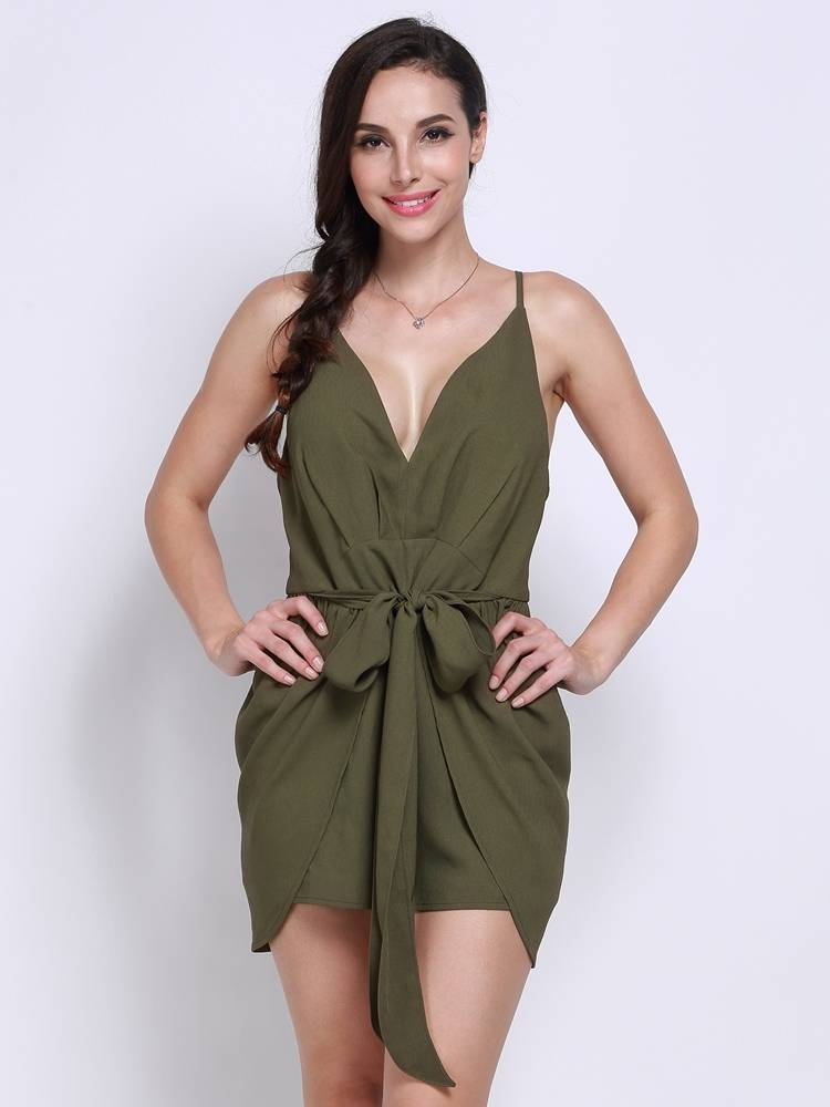 Women Sexy Deep V Camisole Bow Irregular Backless Jumpsuits