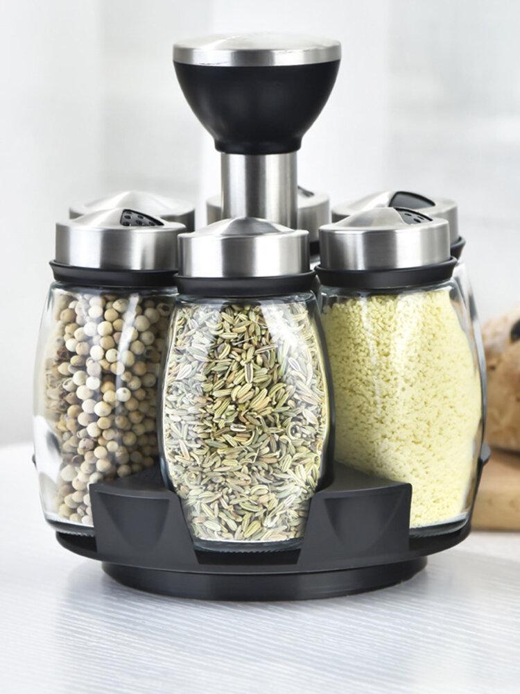 Set di serbatoi per condimento rotanti da cucina Bottiglia combinata per contenitori da cucina