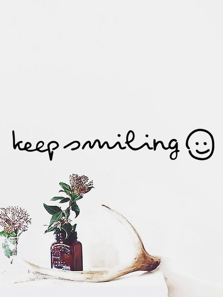 1PC Inspiration Quote Keep Smiling Self-adhesive Removable Home Wall Decor For Living Room Office Bedroom Wall Sticker