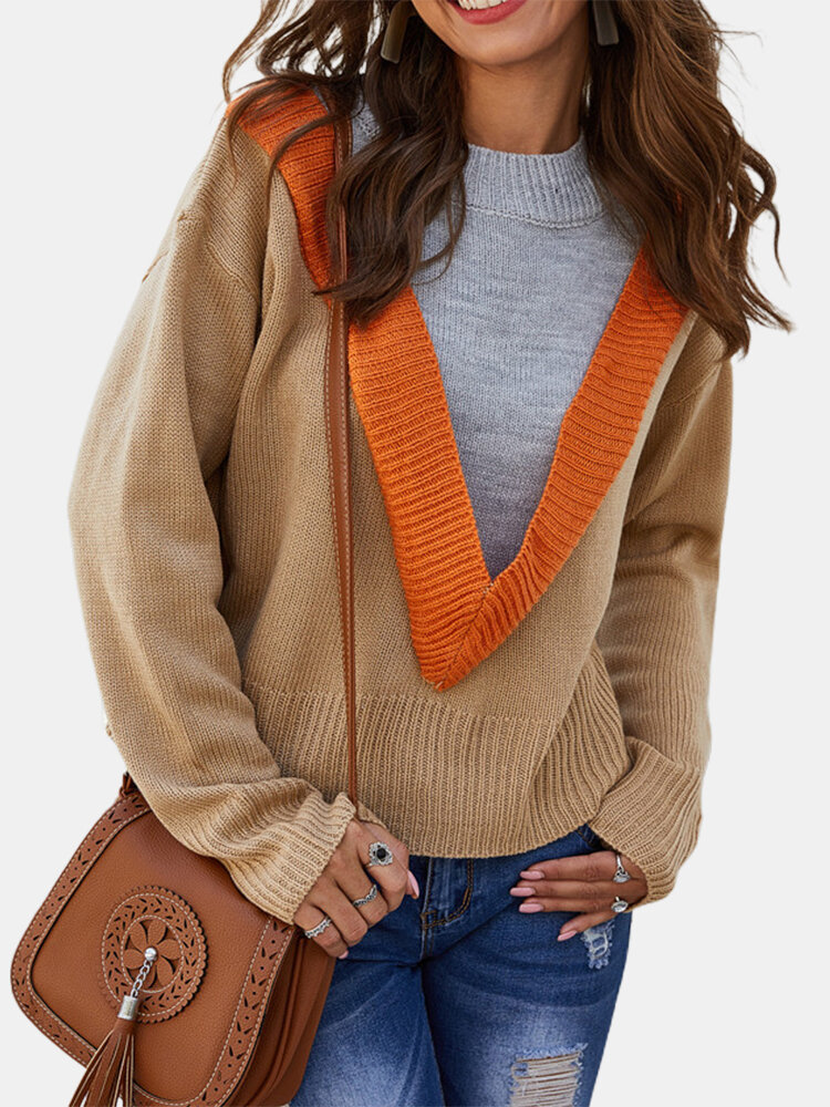 Fake Two Patchwork Long Sleeve Ribbed Sweater
