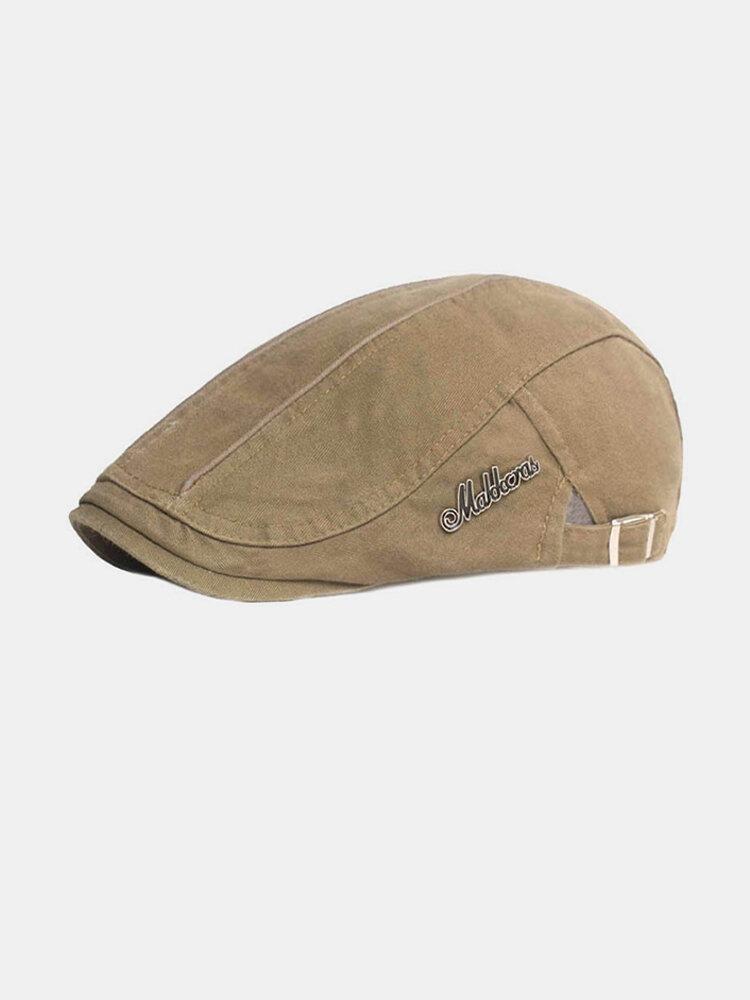 पुरुषों कपास सादा रंग समायोज्य आरामदायक फ्लैट टोपी आगे टोपी टोपी टोपी