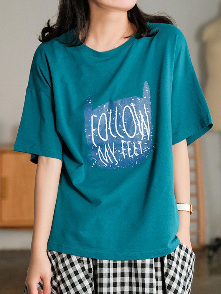 Letters Cartoon Print O-neck Short Sleeve Loose Women Casual T-shirt