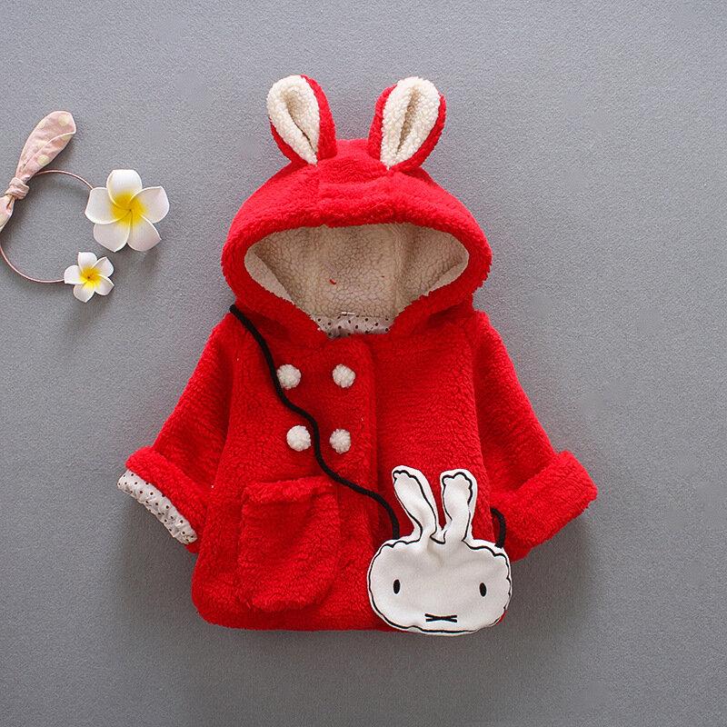 Cute Rabbit Ear Hooded Baby Girls Coat Warm Jacket Outerwear For 0-24M