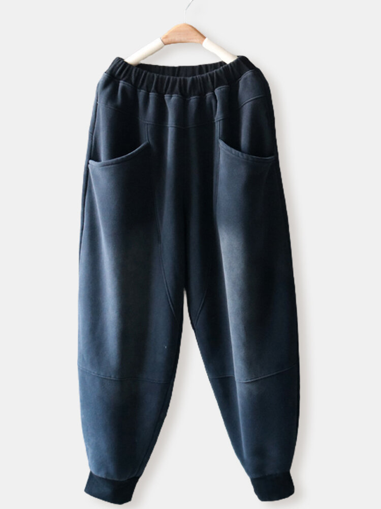 Causal Solid Color Elastic Waist Plus Size Sport Pants with Pocket