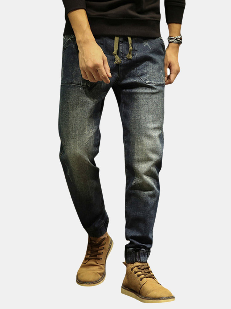 Casual Drawstring Ripped Washed Harem Jeans For Men