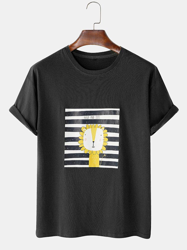 Mens Cartoon Animal Oil Print Casual Light Cotton Round Neck T-Shirts