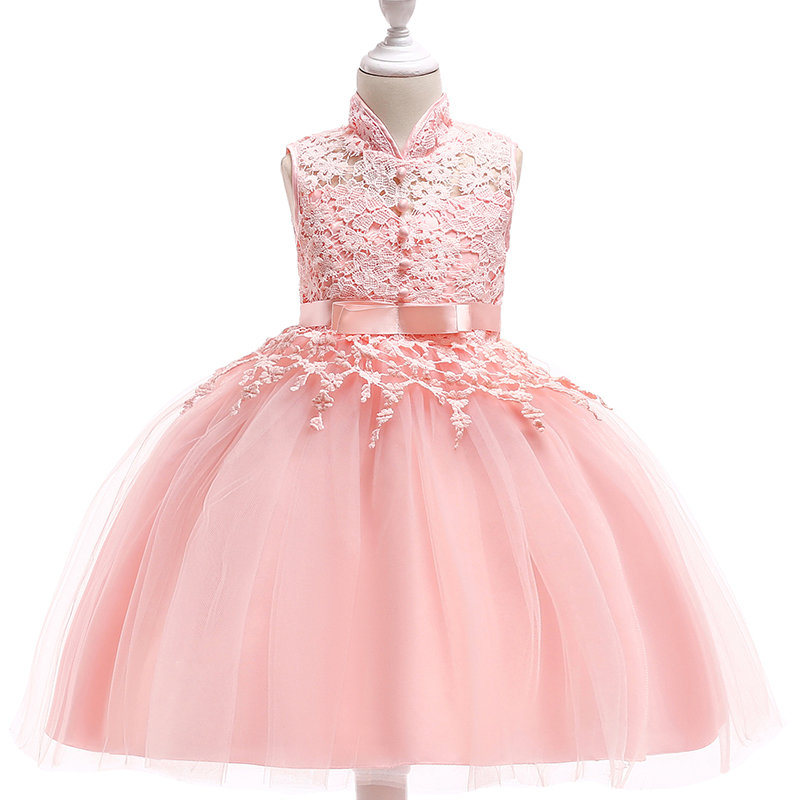 Lace Patch Girls Kids Sleeveless Pageant Formal Princess Dress For 4Y-13Y