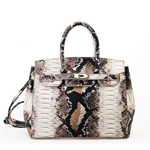 Snake Pattern Faux Leather Handbag Shoulder Bag For Women