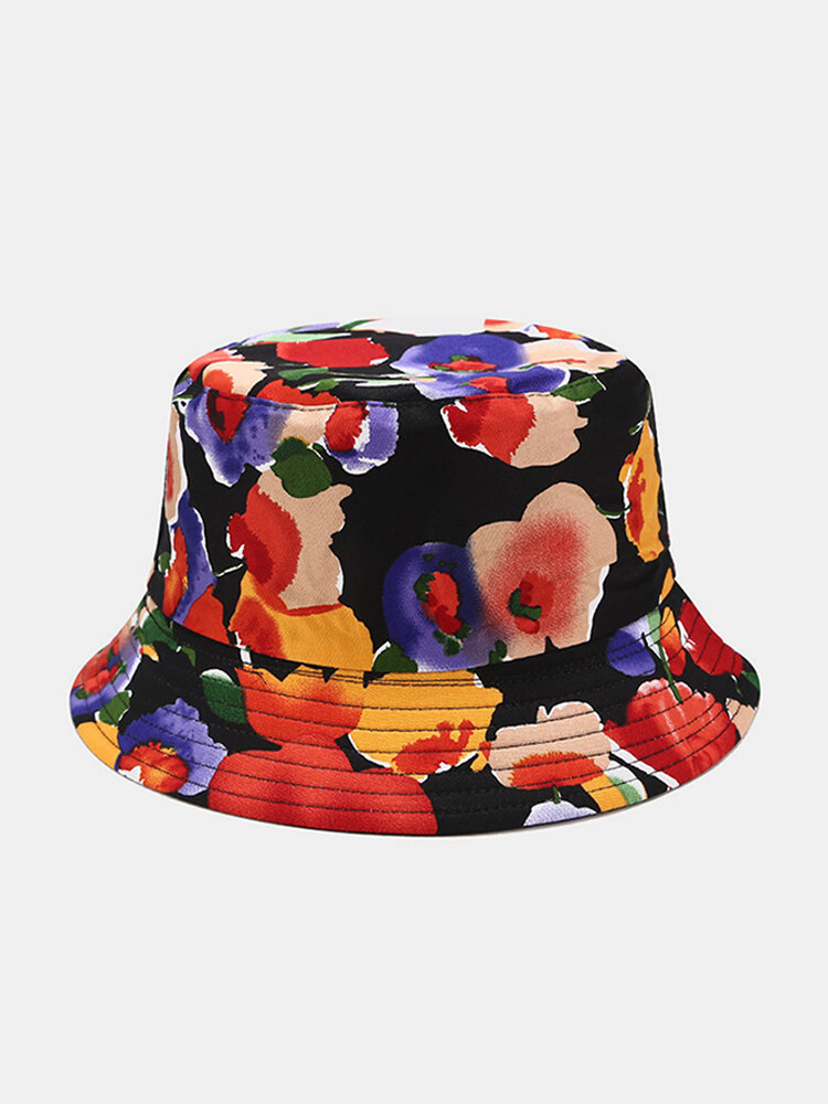 Women & Men Double-Sided Floral Overlay Print Pattern Casual Outdoor Visor Bucket Hat