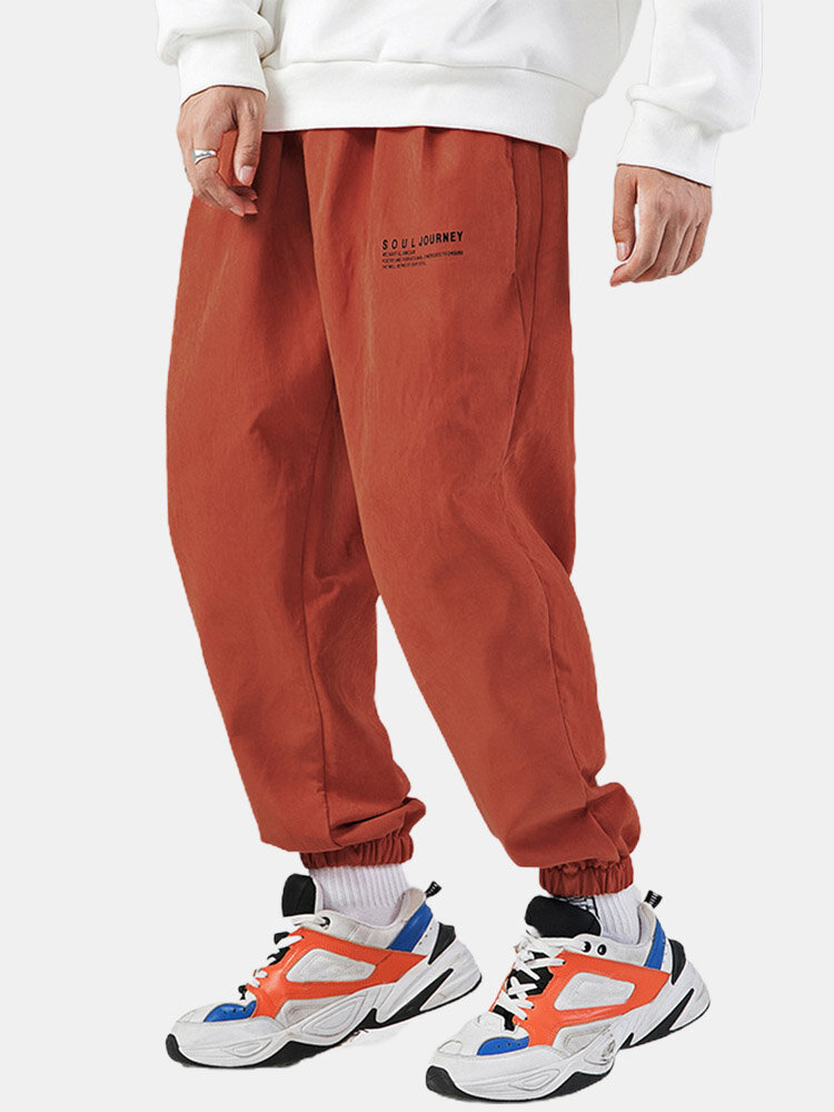 Mens Letter Print Casual Jogger Pants With Pocket