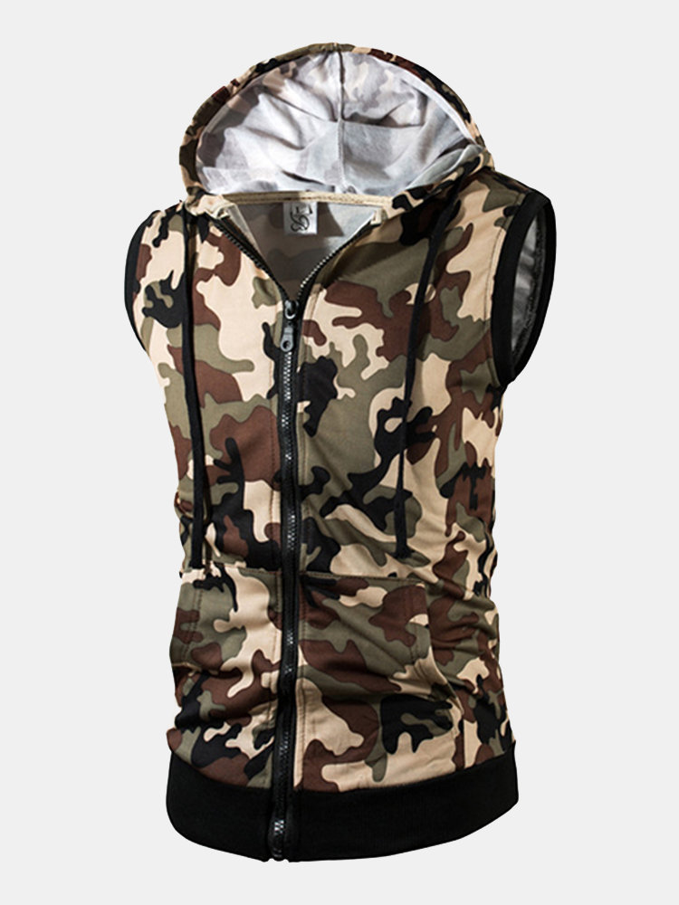 9082935aaf7f4 Mens Summer Camo Printed Casual Tank Tops Stylish Sleeveless Hooded Vest  Cheap - NewChic