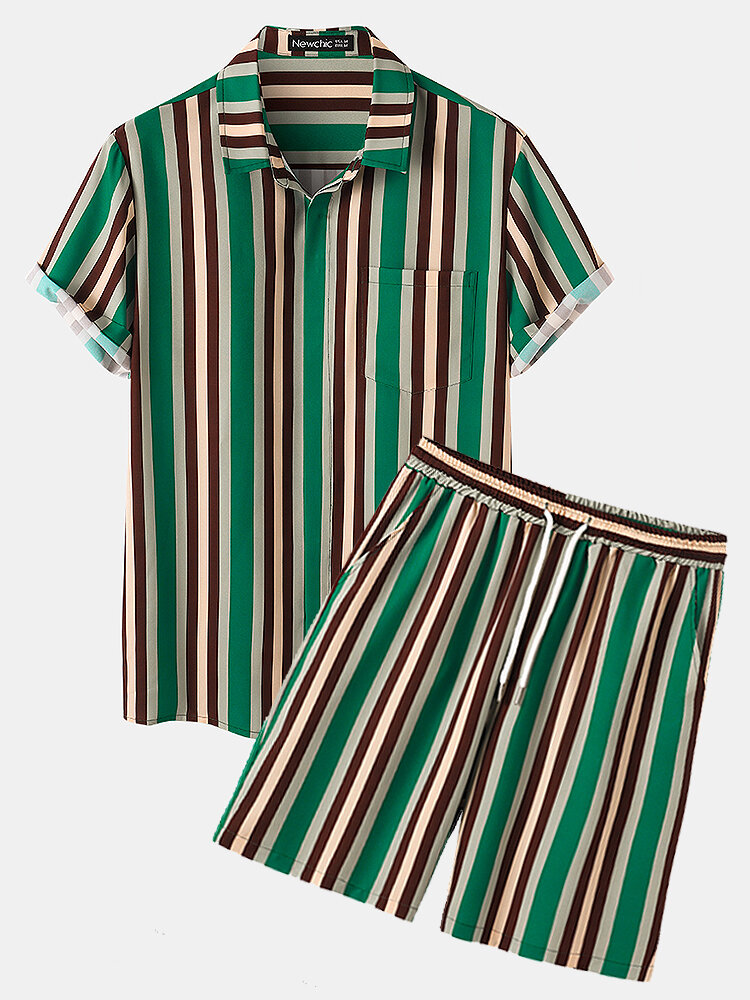 Mens Vertical Stripes Print Lapel Short Sleeve Casual Holiday Two-Piece Outfits