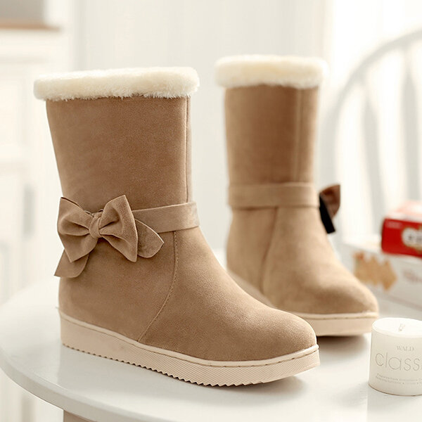 Bowknot Slip On Fur Lining Winter Mid Calf Boots