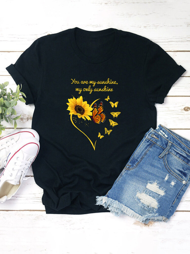 Floral Letter Printed Short Sleeve O-Neck Casual T-shirt