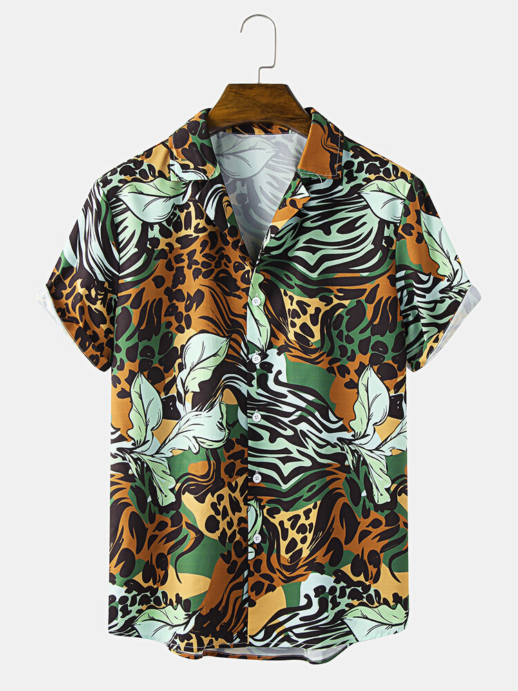 Mens All Over Leopard Tropical Print Holiday Short Sleeve Shirts