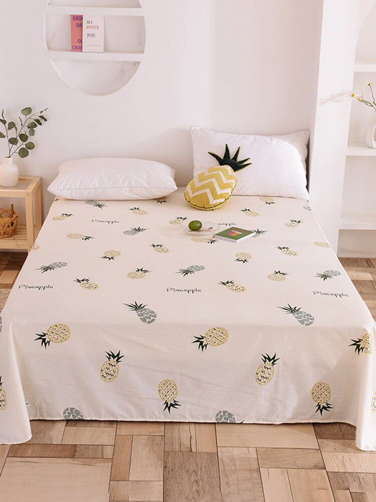 Small Fresh Pure Cotton Print Sheets Bedding Bedroom Pineapple Single Double Sheets