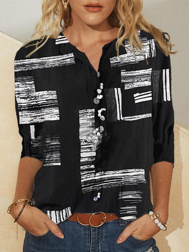 Vintage bedruckte Stehkragen Langarm Bluse mit Knopf