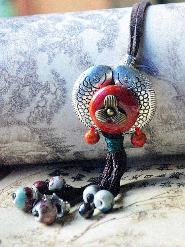 Ethnic Metal Geometric Pisces Tassel Pendant Sweater Chain Hand-woven Ceramic Beads Necklace