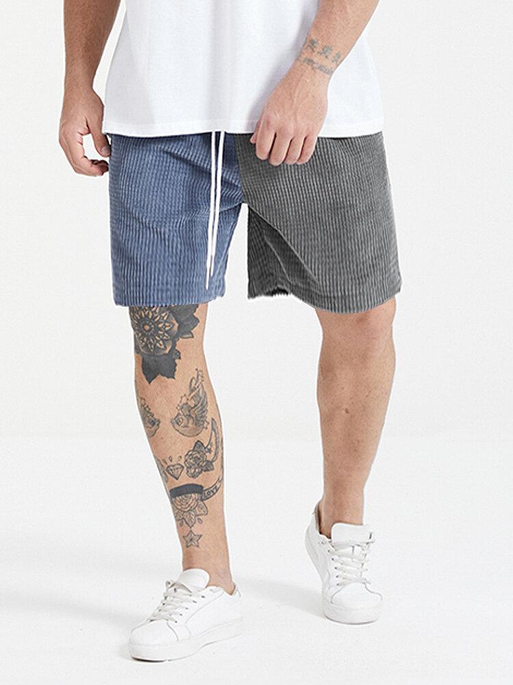 Plus Size Mens Corduroy Two Tone Patchwork Fashion Drawstring Mid Length Shorts