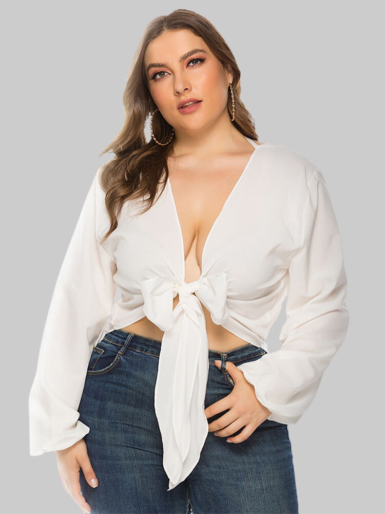 Solid Color Knotted Backless Plus Size Sexy Short Blouse