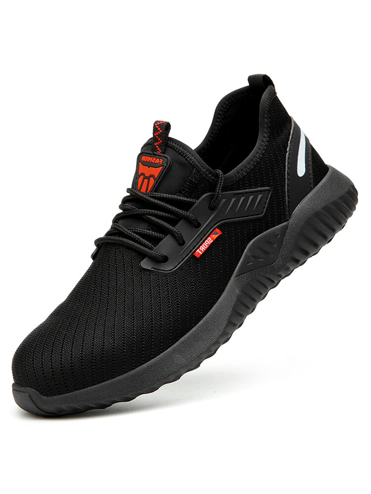 Men Steel Toe Cap Anti Smash Puncture Proof Soft Sole Black Work Safety Sneakers
