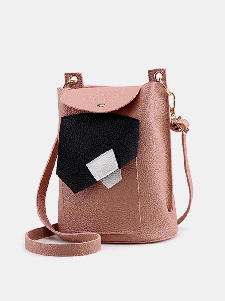 Women PU Leather Patchwork Crossbody Bag Bucket Bag