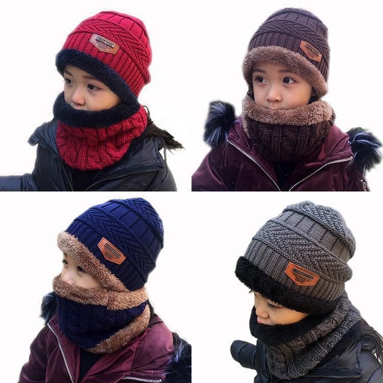 قبعة شتوية دافئة متماسكة من الصوف كيد + طقم من الأوشحة لمدة 2-10 سنوات