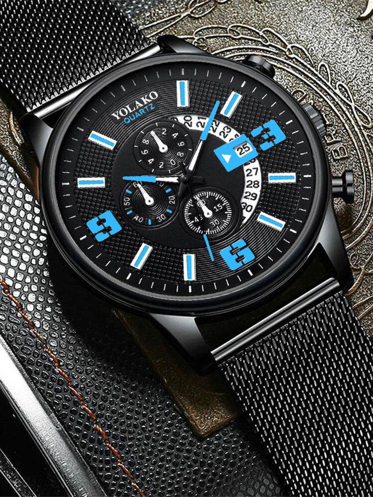 7 Colors Alloy Men Business Watch Decorated Pointer Calendar Quartz Watch