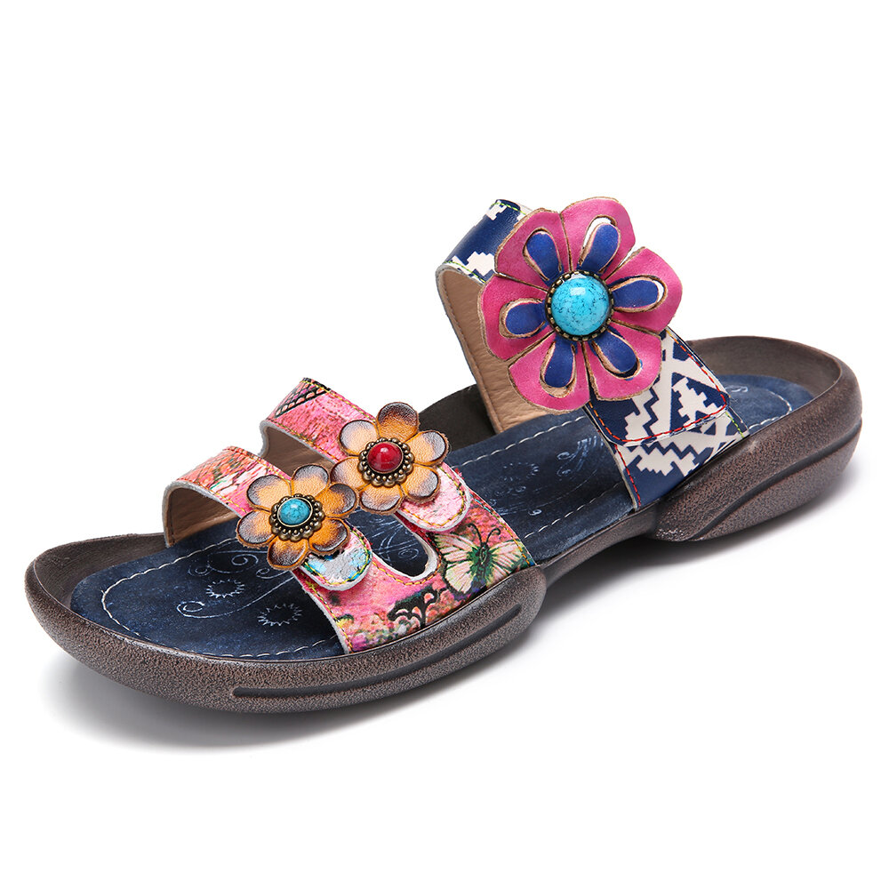SOCOFY Bohemia Flower Leather Beading Hook Loop Open Toe Casual Flat Sandals