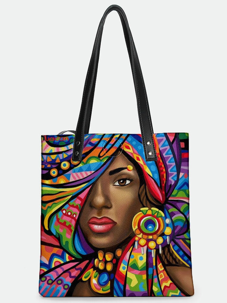 Casual Stylish Design Abstract Black Human Pattern Magnetic Button Tote Shoulder Bag With Phone Bag