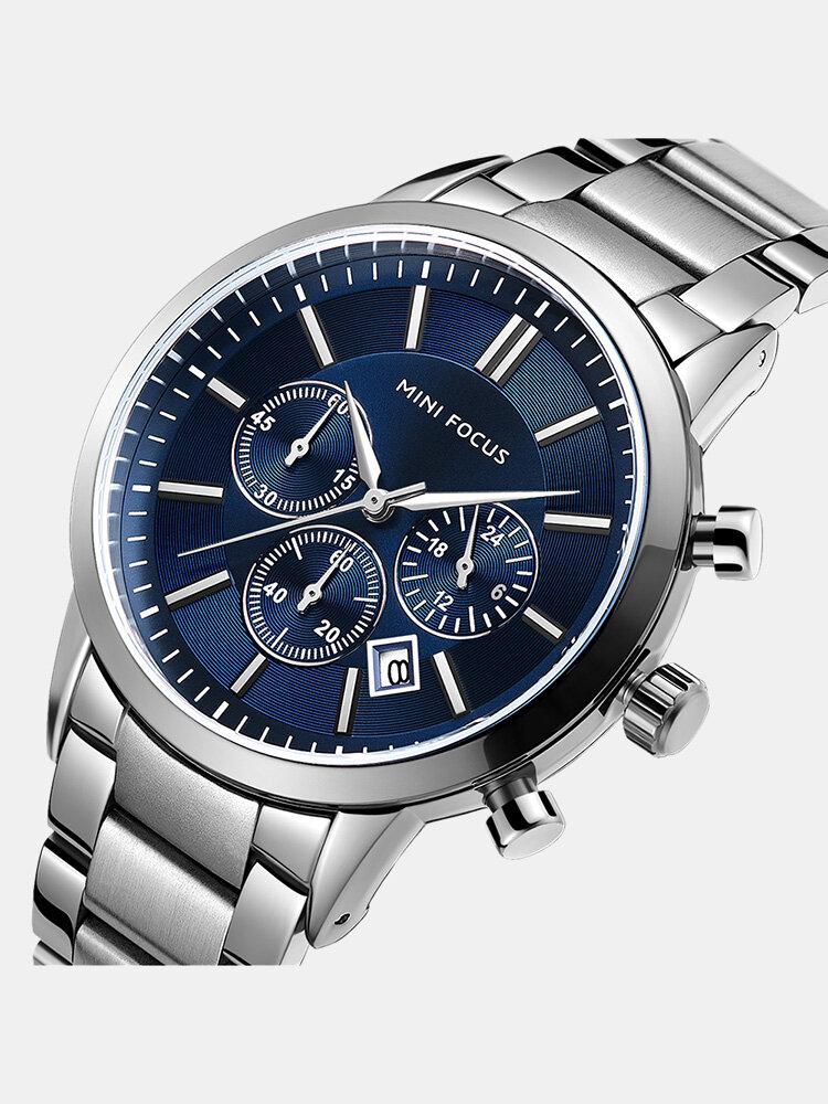 Business Style Calendar Stainless Steel Men Wrist Watch Quartz Watch