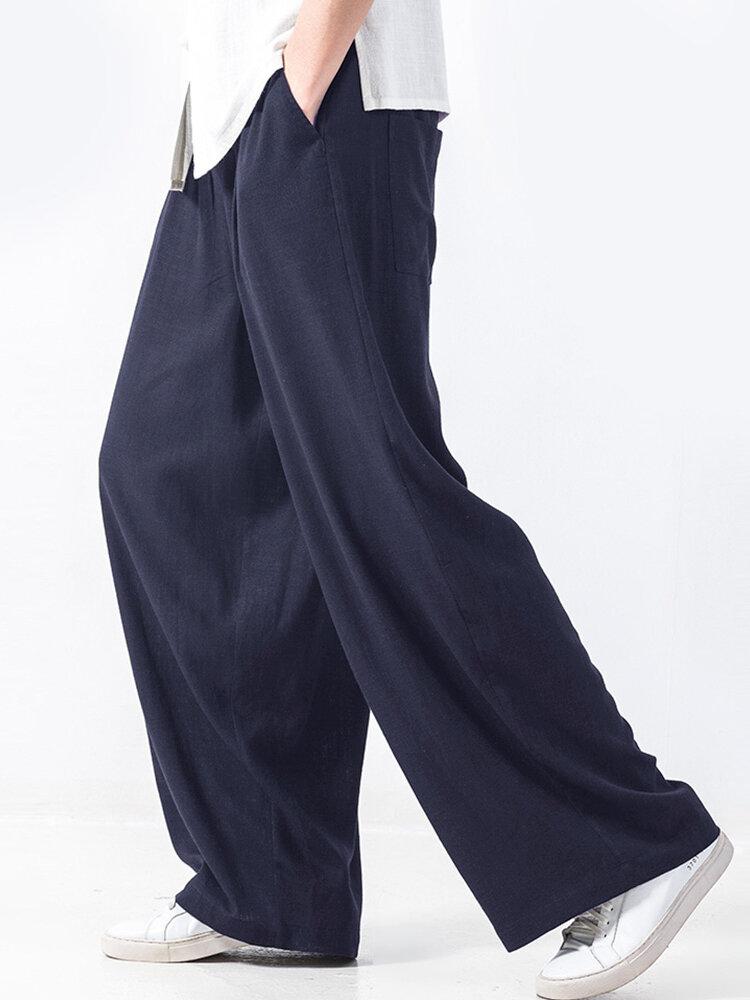 Mens Cotton Solid Baggy Elastic Waist Casual Wide Leg Pants