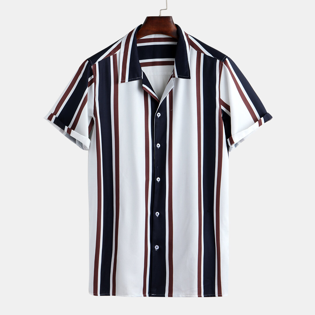 1a70098eb7c1 Mens Summer Hit Color Striped Printed Turn Down Collar Short Sleeve Loose Casual  Shirts Best Online - NewChic
