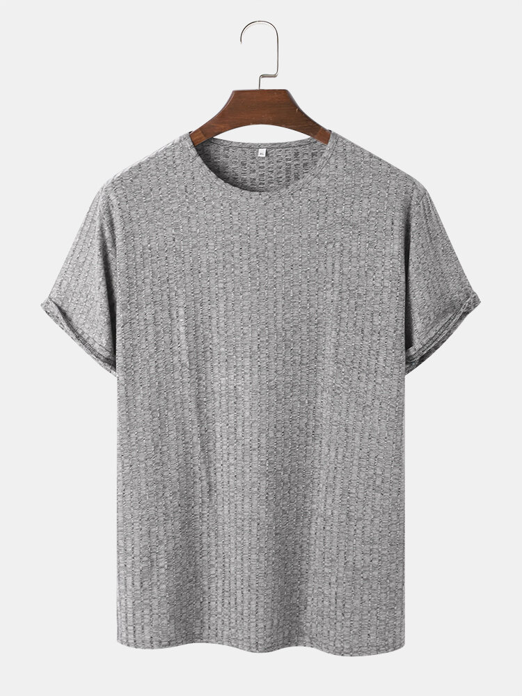 Mens Breathable Solid Color Knitted Short Sleeve T-Shirt