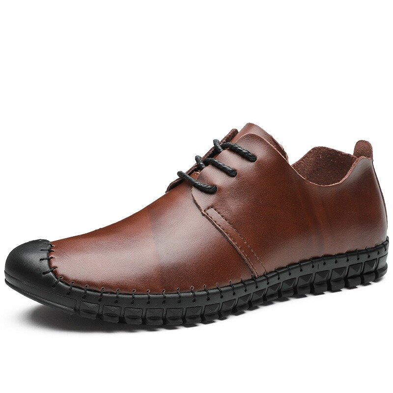 Large Size Men Hand Stitching Toe Protective Comfy Leather Shoes