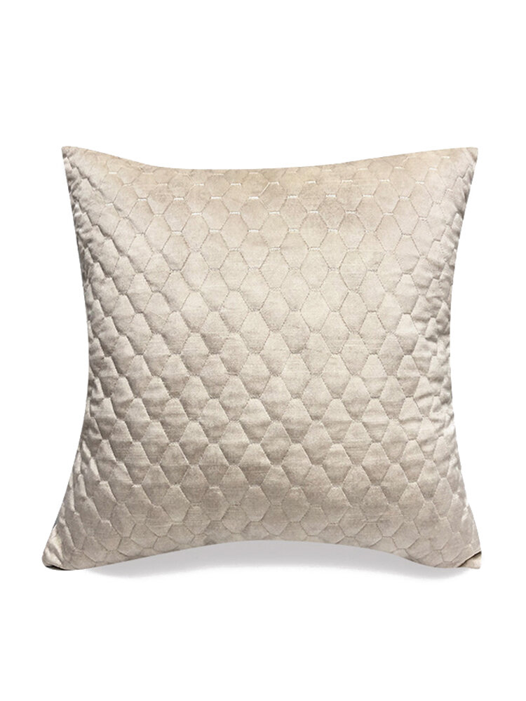 Pure Color Plush Geometric Pineapple Grid Sofa Pillow Living Room Bedside Pillowcase