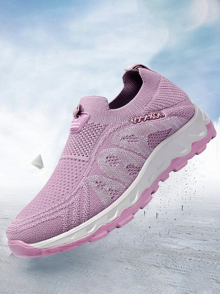 Plus Size Women Casual Soft Comfy Lightweight Socks Shoes Breathable Knitted Walking Sneakers