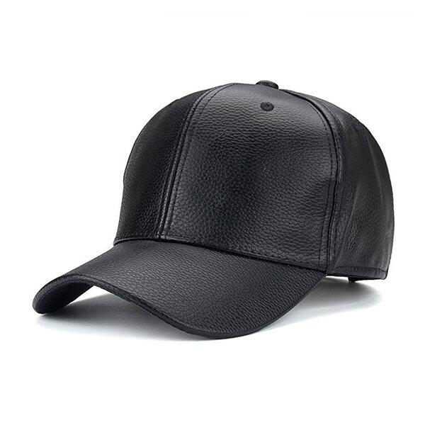 Men Grain PU Leather Baseball Cap Casual Outdoor Sports Sun Hats Adjustable Windproof Duck Hats