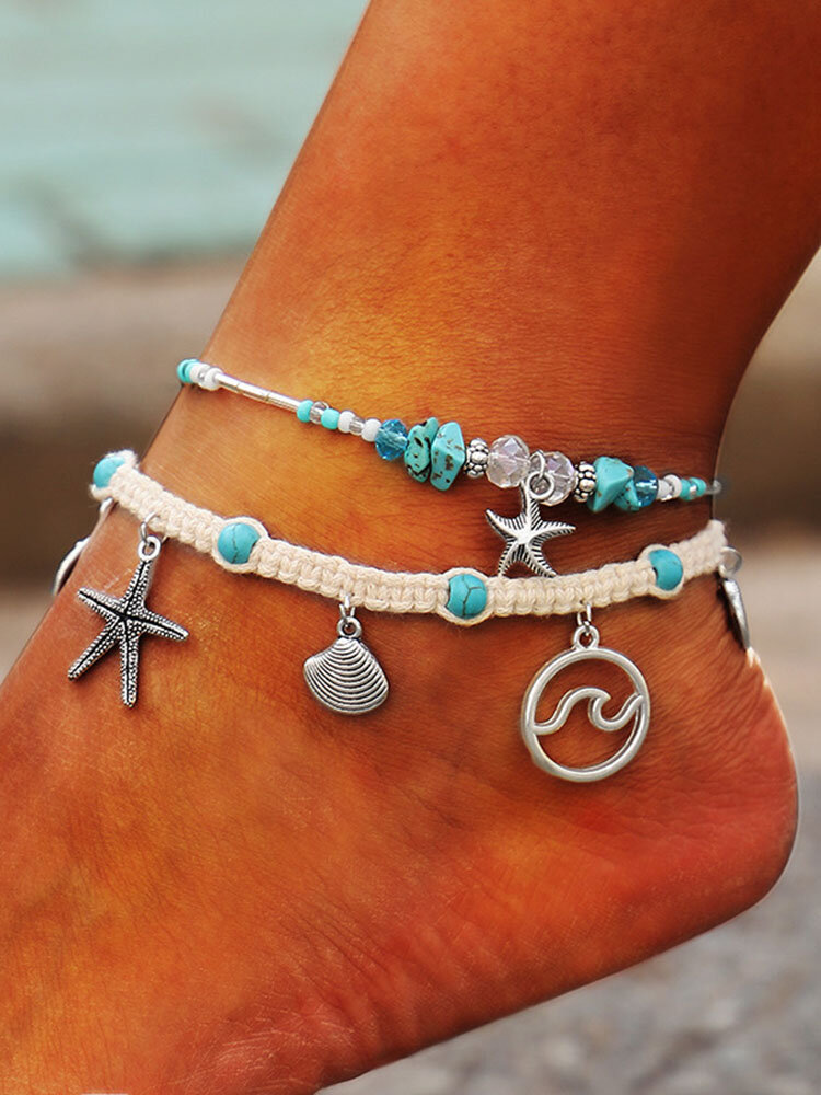 Bohemian Hemp Rope Shell Starfish Tassel Pendant Adjustable Ankle Turquoise Beaded Chain Ankle