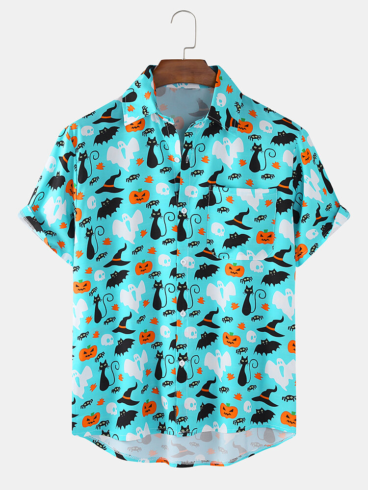 Mens Cat Halloween Print Funny Holiday Short Sleeve Shirt