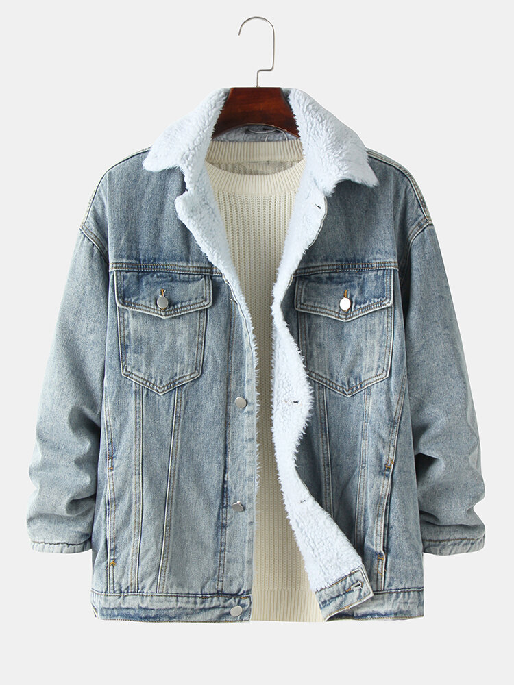 Mens Sherpa Lined Warm Cotton Button Up Lapel Denim Jacket With Pocket