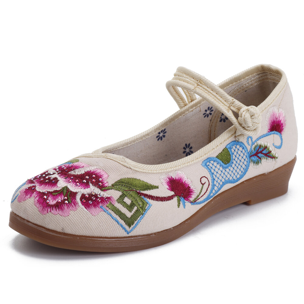 Embroidered Frog Closures Vintage Casual Flat Shoes
