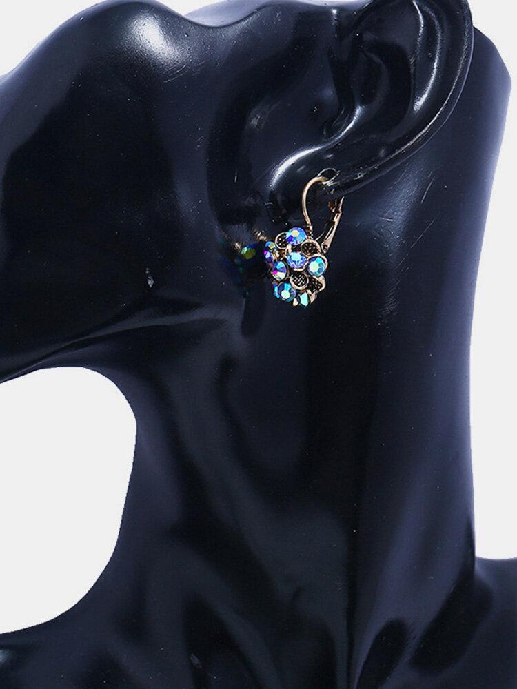 Vintage Tree Leaves Flowers Round Earrings Geometric Silver Plated Pendant Earrings