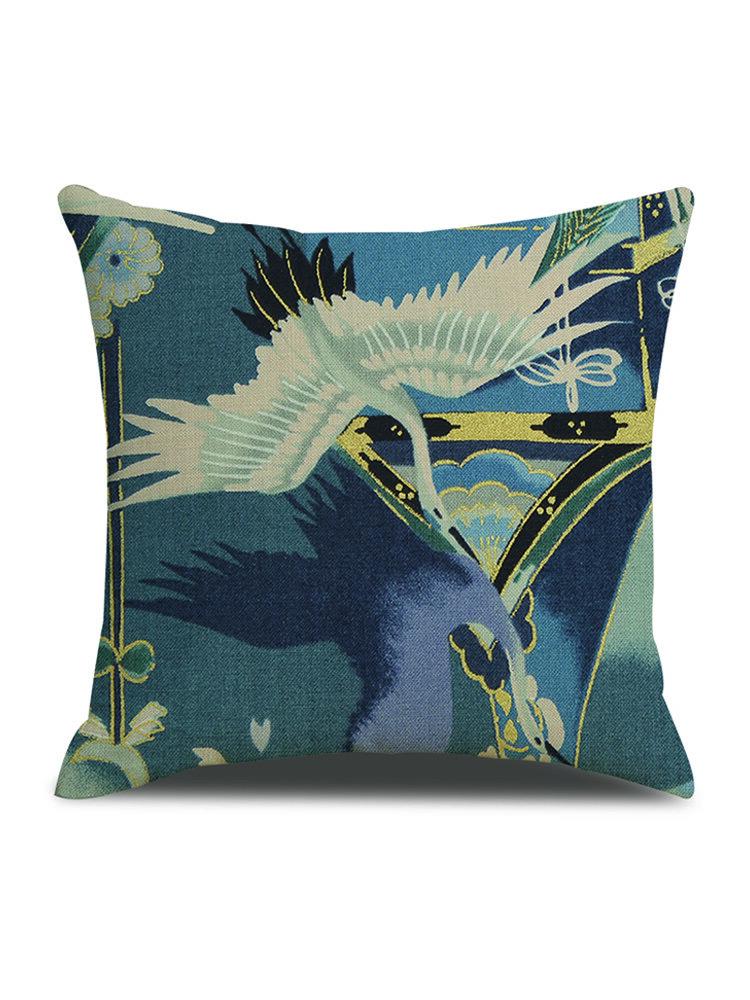1 PC Vintage Japanese White Crane Print Linen Cushion Cover Home Sofa Office Waist Soft Throw Pillow CoverPillowcases