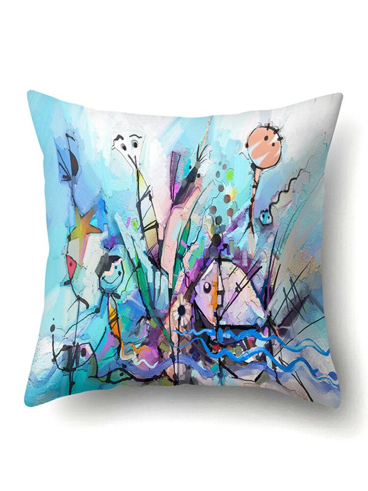 Creative Abstract Fish Ocean Painting Microfiber Cushion Cover Home Sofa Office Car Seat Art Decor