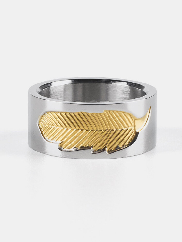 Unique Unisex Gold Feather Charm Stainless Steel Rings Couple Engagement Rings for Women Men