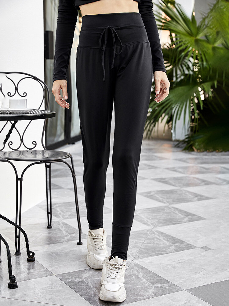 Solid Color Drawstring Bodycon Quick-drying Sport Leggings for Women