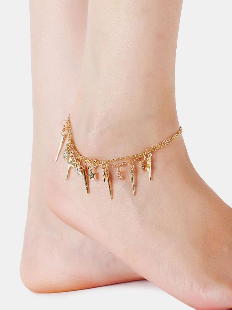 Bohemian Tassels Arrow Anklets Rhinestone Star Pendant Anklets Vintage Jewelry for Women