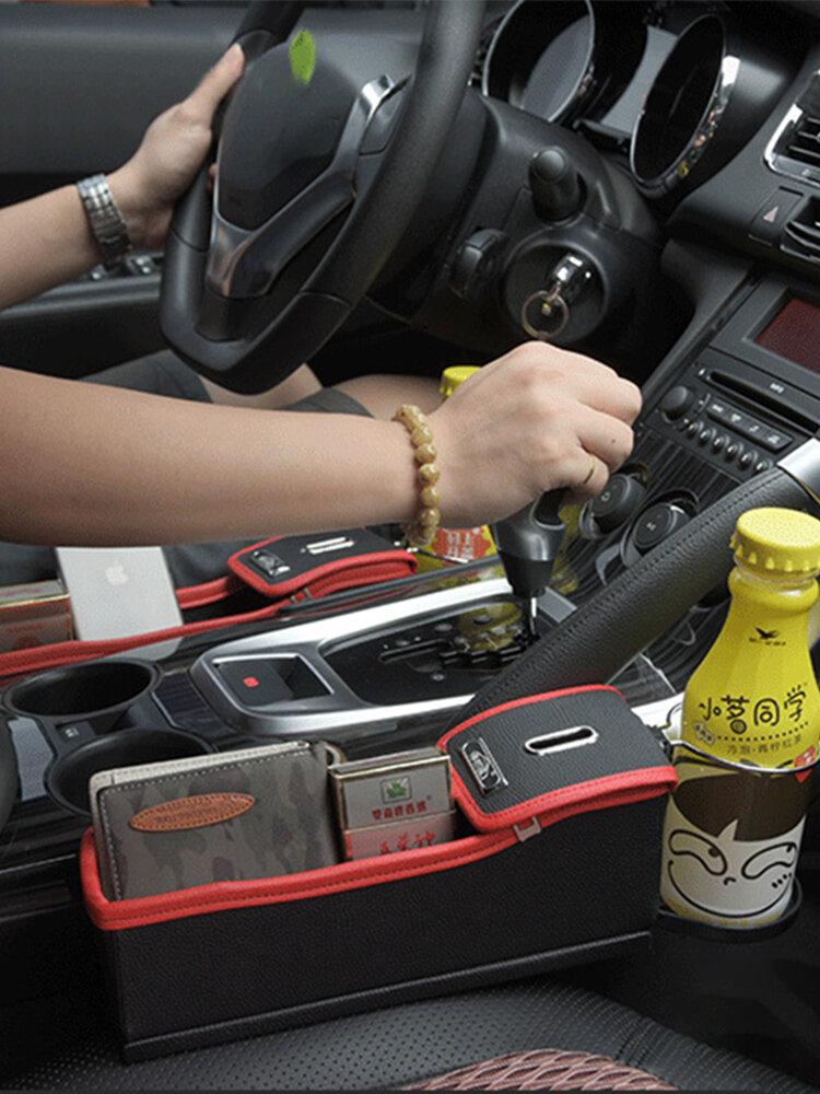 Boîte de rangement pour siège de voiture Boîte de rangement pour pièces de monnaie en cuir multifonction